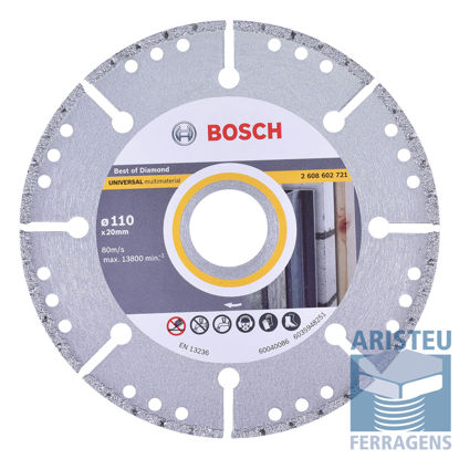 DISCO DE CORTE DIAMANTADO MULTIMATERIAL 110MM BOSCH - Aristeu Ferragens