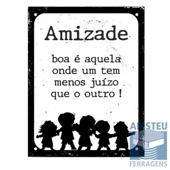 PLACA DECORATIVA 18 X 23CM AMIZADE SINALIZE